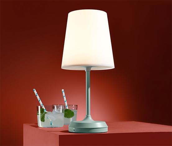 Outdoorová stolná lampa s LED, s akumulátorom
