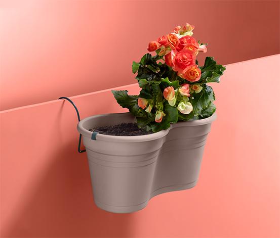 Dvojitý kvetináč s držiakom na zavesenie na balkón
