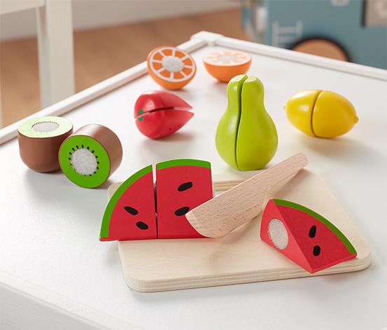 Súprava na krájanie z dreva »Ovocie a zelenina«