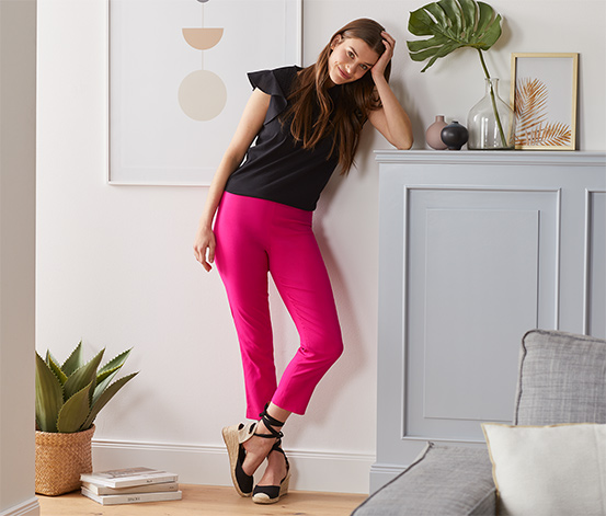 Sedemosminové elastické nohavice, ružové