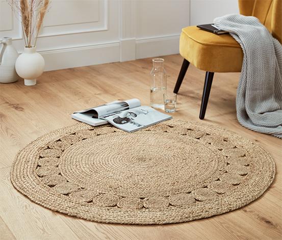 Okrúhly pletený koberec z juty