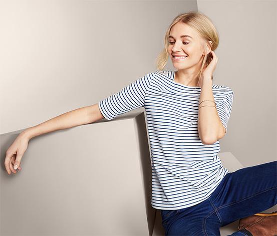 Prúžkované tričko s polodlhým rukávom