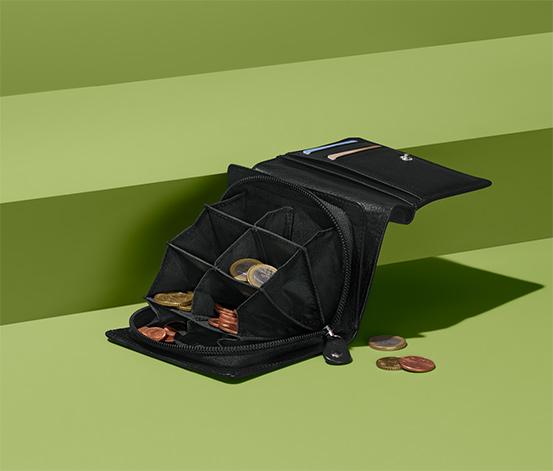 Peňaženka na triedenie mincí