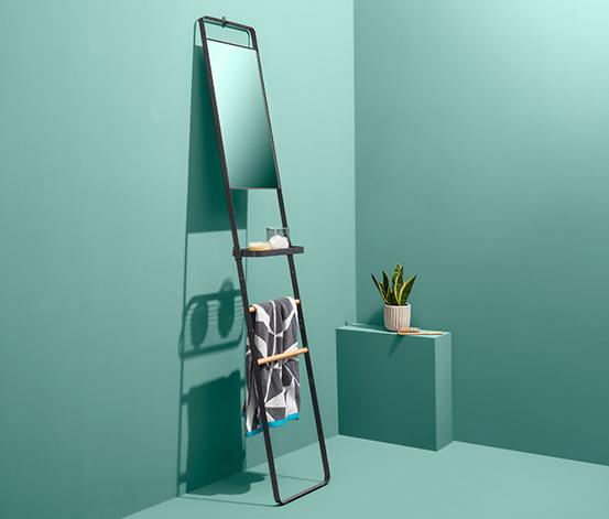 Regál na zavesenie uterákov so zrkadlom