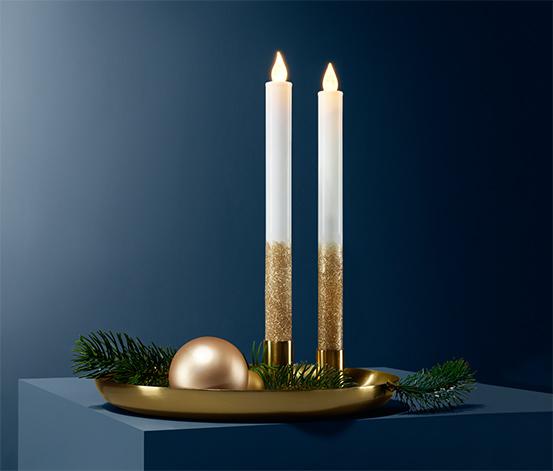 Dlhé sviečky z pravého vosku s LED, 2 ks