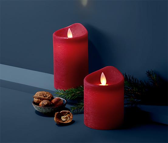 Sviečky z pravého vosku s LED, 2 ks, tmavočervené