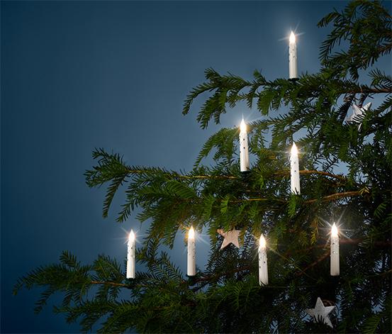 Sviečky s LED na vianočný stromček, 12 ks