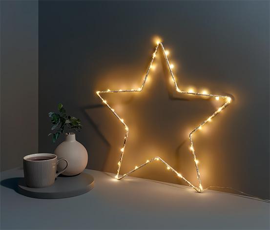 Kovová hviezda s LED, malá