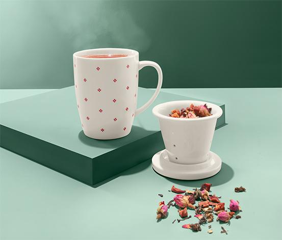 Šálka na čaj so sitkom a vekom