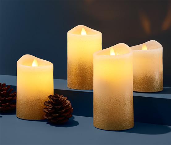 Sviečky z pravého vosku s LED, 4 ks, krémovobiele s lesklým prechodom