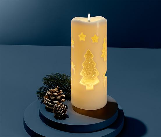 Sviečka s LED a trblietavou vodou