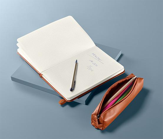 Zápisník a puzdro na písacie potreby