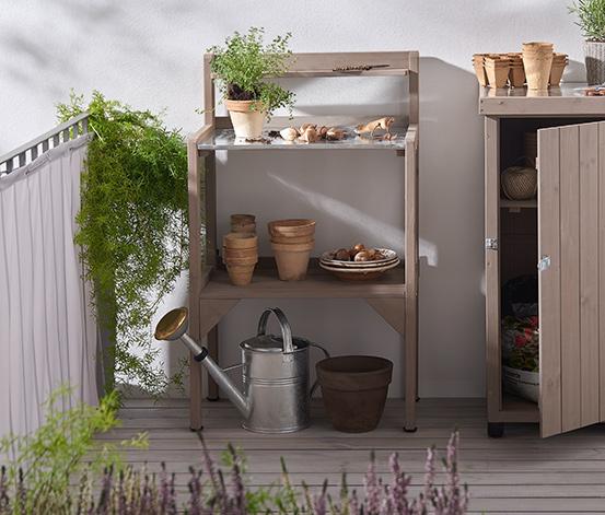 Úzky záhradný pracovný stolík