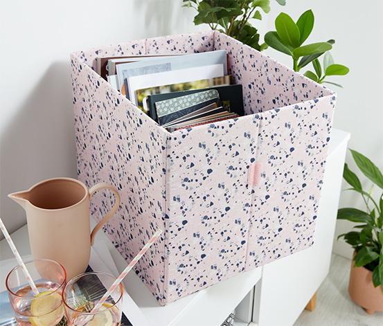 Úložná škatuľa s ľubovoľne skladacím vekom, vysoká, ružová s mozaikovou potlačou
