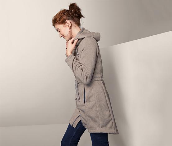 Kabát z pleteného flísu s kapucňou