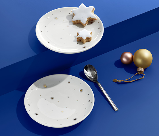 Taniere na dezert s lesklým, zlatým a platinovým zdobením, 2 ks