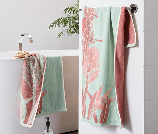 Velúrové uteráky s tropickým dizajnom, 2 ks, tyrkysové
