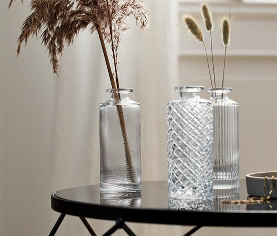 Súprava dekoračných fliaš zo skla