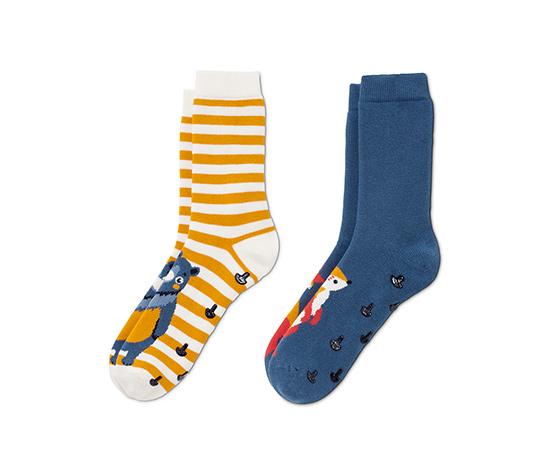 Protišmykové ponožky, 2 páry, 1x s motívom medveďa, 1x s motívom líšky