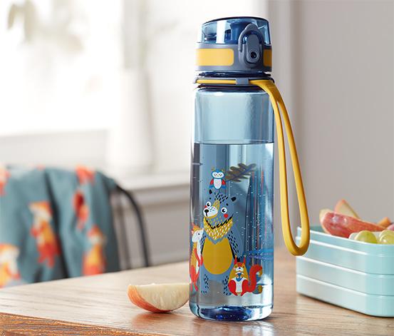 Fľaša na pitie, modro-oranžová s viacfarebnou potlačou