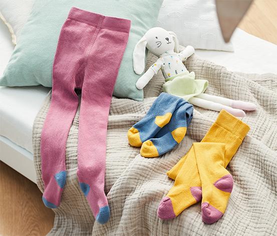 Pančuchové nohavice, 3 ks, žlté, ružové, modré