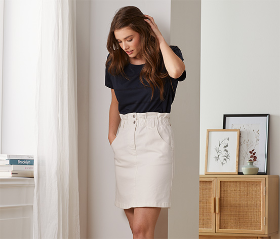 Džínsová sukňa s pásom v štýle paper bag