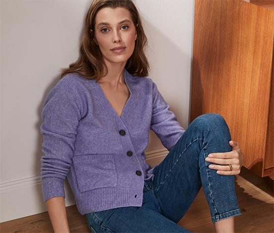 Pletený sveter s vlnou, orgovánový
