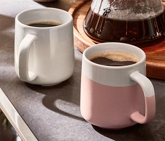 Hrnčeky na kávu, 2-dielna súprava, biely/ružový